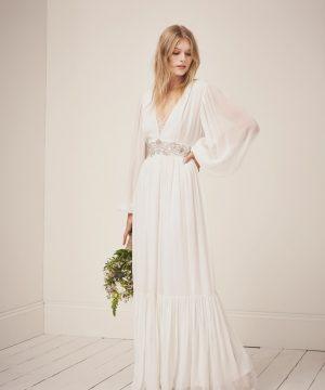 Cari Sparkle Maxi Wedding Dress - summer white