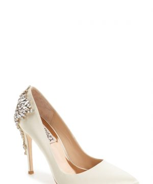 Women's Badgley Mischka 'Gorgeous' Crystal Embellished Pointy Toe Pump, Size 8 M - Ivory