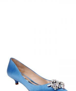 Women's Badgley Mischka Vail Embellished Kitten Heel Pump, Size 7.5 M - Blue