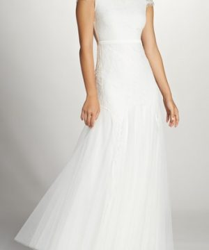 Women's Fame & Partners Denevue Lace & Tulle A-Line Gown