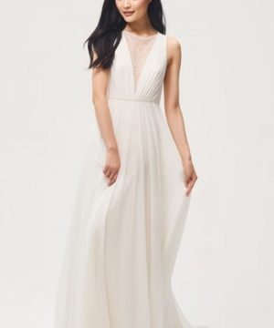 Women's Jenny By Jenny Yoo Fallon Lace & Chiffon A-Line Gown