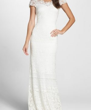 Women's Tadashi Shoji Off The Shoulder Illusion Lace Gown