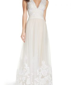 Women's Tadashi Shoji Tulle Lace A-Line Gown