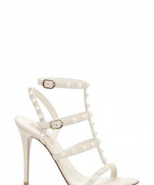 Women's Valentino Garavani Rockstud T-Strap Sandal, Size 7.5US / 37.5EU - Ivory