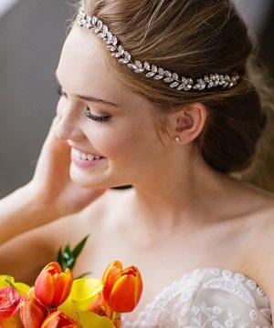 Brides & Hairpins Alegra Crystal Leaf Halo & Sash