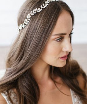 Brides & Hairpins Alegra Crystal Leaf Halo & Sash, Size One Size - Metallic