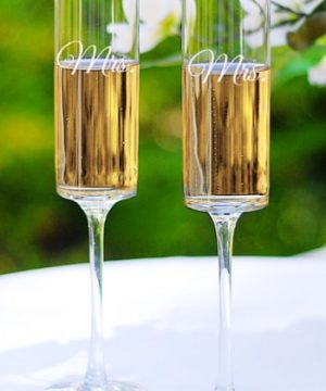 Cathy's Concepts 'For The Couple' Etched Contemporary Champagne Flutes