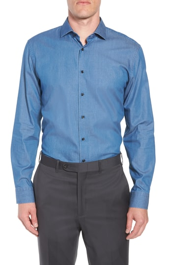 Men's 1901 Trim Fit Solid Denim Dress Shirt
