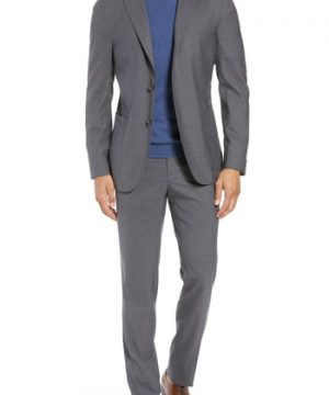 Men's Boglioli Trim Fit Solid Wool Suit