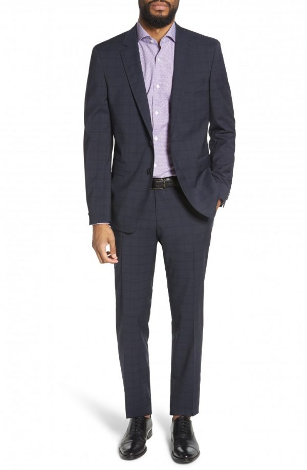 Men's Boss Ryan/win Extra Trim Fit Windowpane Wool Suit