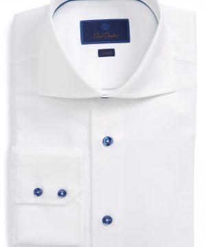 Men's David Donahue Trim Fit Diamond Weave Dress Shirt