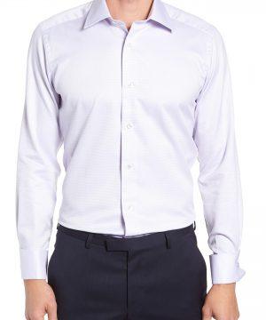 Men's David Donahue Trim Fit Dot Dress Shirt