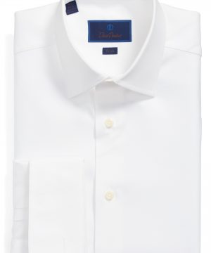 Men's David Donahue Trim Fit Solid French Cuff Dress Shirt