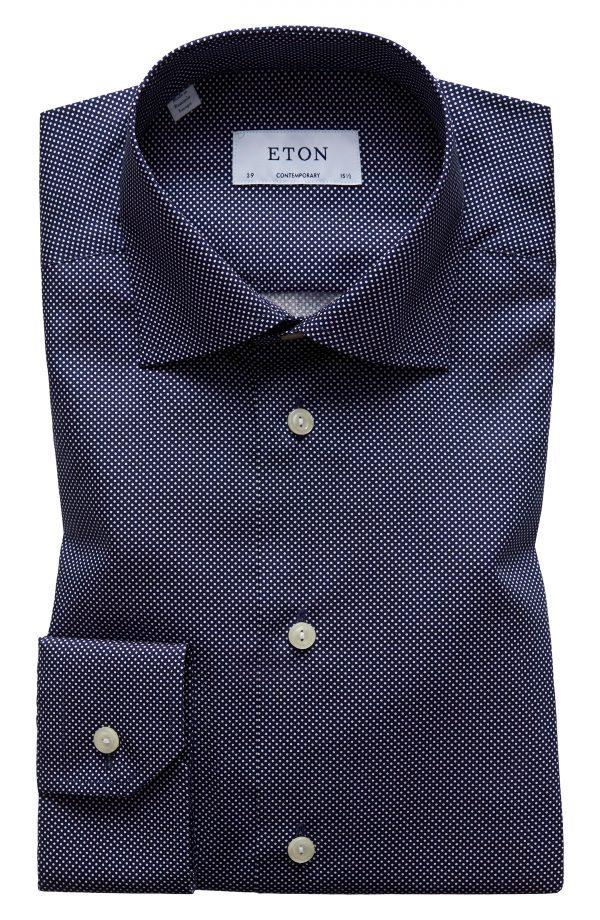 Men's Eton Contemporary Fit Signature Polka Dot Dress Shirt