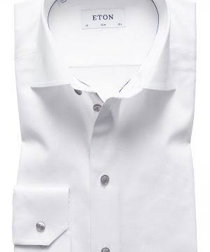 Men's Eton Slim Fit Twill Dress Shirt With Grey Details