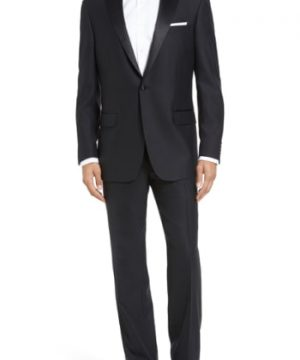 Men's Hart Schaffner Marx New York Classic Fit Black Wool Tuxedo