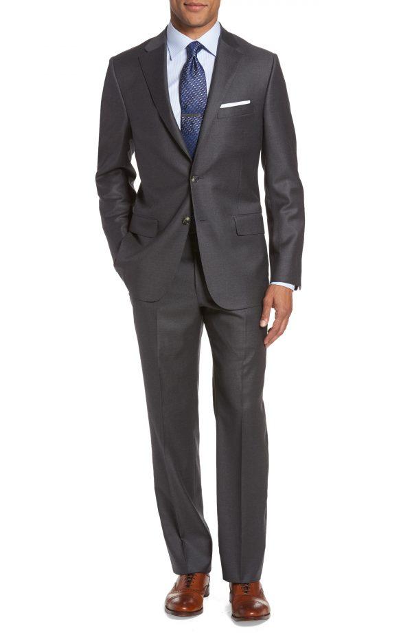 Men's Hickey Freeman Classic B Fit Loro Piana Wool Suit