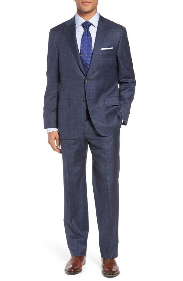 Men's Hickey Freeman Classic B Fit Plaid Wool Suit