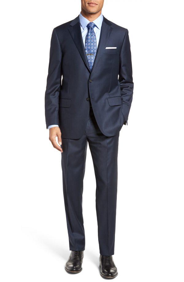 Men's Hickey Freeman Classic B Fit Solid Loro Piana Wool Suit