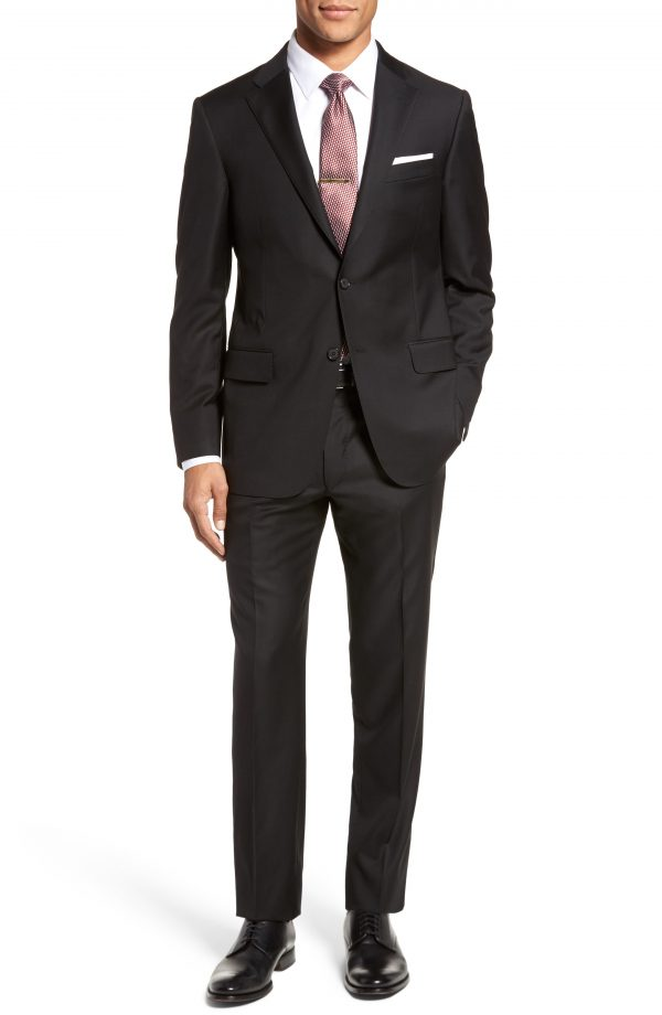 Men's Hickey Freeman Modern H Fit Solid Loro Piana Wool Suit