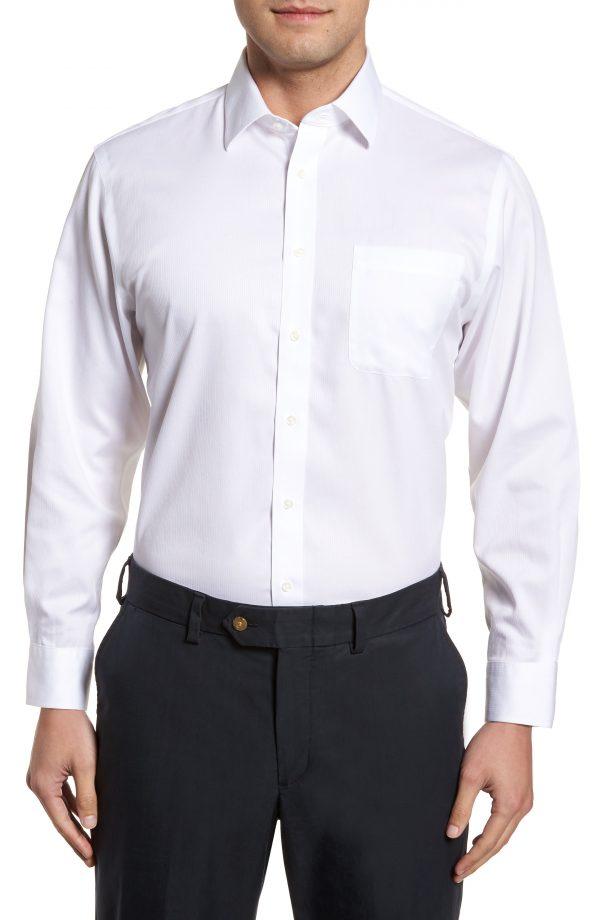 Men's Nordstrom Men's Shop Smartcare(TM) Traditional Fit Stripe Dress Shirt