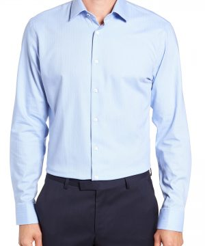 Men's Nordstrom Men's Shop Tech-Smart Trim Fit Stretch Herringbone Dress Shirt