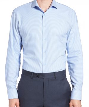 Men's Nordstrom Men's Shop Tech-Smart Trim Fit Stretch Texture Dress Shirt