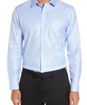 Men's Nordstrom Men's Shop Trim Fit Microgrid Dress Shirt