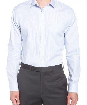 Men's Nordstrom Men's Shop Trim Fit Non-Iron Stripe Dress Shirt