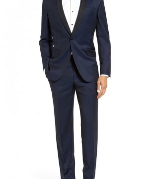 Men's Ted Baker London 'Josh' Trim Fit Navy Shawl Lapel Tuxedo