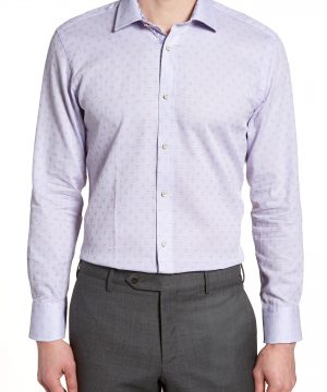 Men's Ted Baker London Racking Trim Fit Dot Dress Shirt