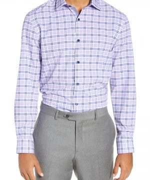 Men's W.r.k Trim Fit 4-Way Stretch Plaid Dress Shirt