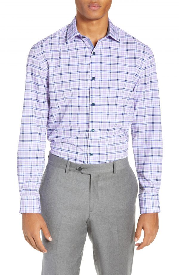 Men's W.r.k Trim Fit 4-Way Stretch Plaid Dress Shirt