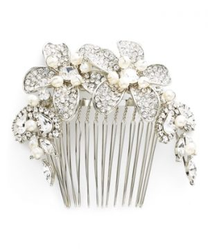 Wedding Belles New York Bead & Crystal Head Comb, Size One Size - Metallic