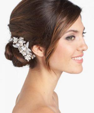 Wedding Belles New York 'Luella' Czech Crystal & Freshwater Pearl Clip