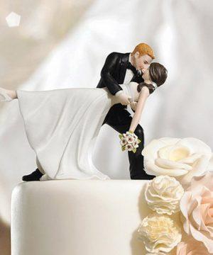 """A Romantic Dip"" Dancing Couple Cake Topper"