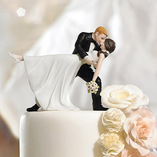 """A Romantic Dip"" Dancing Couple Cake Topper"