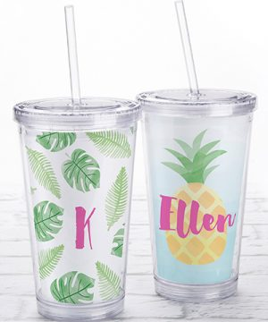 Acrylic Tumbler with Personalized Insert - Pineapples & Palms