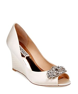 Badgley Mischka Dara Embellished Satin Peep Toe Wedge Pumps