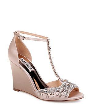 Badgley Mischka Women's Sarah Embellished Satin T-Strap Wedge Sandals