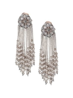 Beaded Chain Cluster Drop Clip-On Earrings