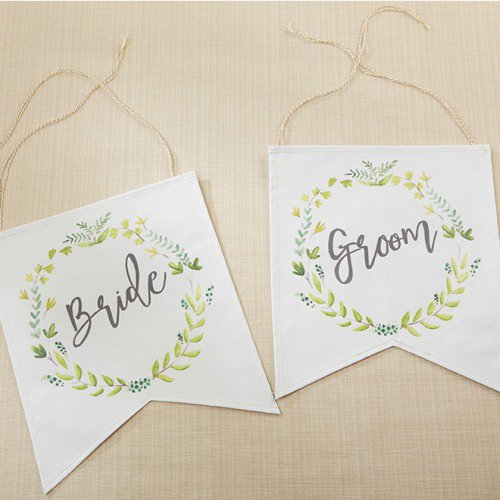 Botanical Canvas Bride & Groom Chair Signs