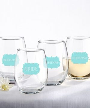 Bride and Bridesmaids Something Blue 15 oz. Stemless Wine Glass (Set of 4)
