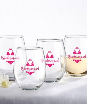 Bridesmaids Beach Bikini 15 oz. Stemless Wine Glass (Set of 4)