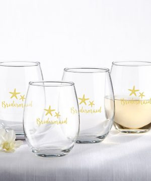 Bridesmaids Beach Tides 15 oz. Stemless Wine Glass (Set of 4)