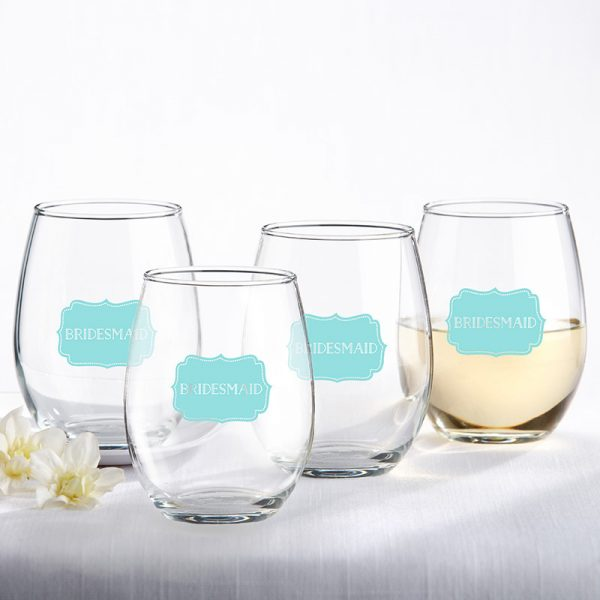 Bridesmaids Something Blue 15 oz. Stemless Wine Glass (Set of 4)