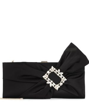 Broche Vivier Drapé satin clutch