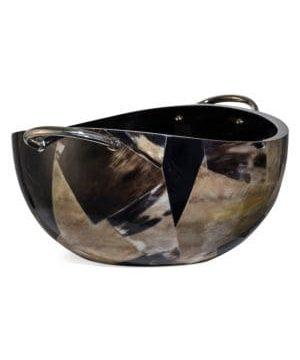 Bull Horn Veneer, Wood & German Silver Serving Bowl