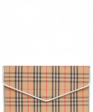 Burberry 1983 Check Cotton & Leather Envelope Clutch -