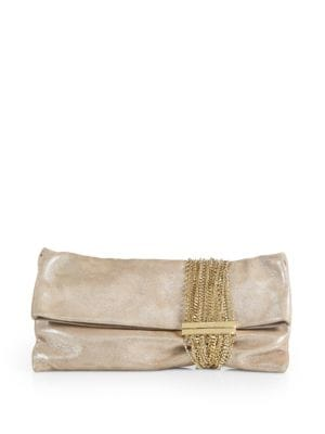 Chandra Shimmer Suede Chain Clutch